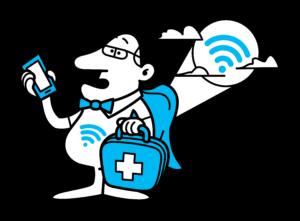 wifi mand med mobiltelefon og taske