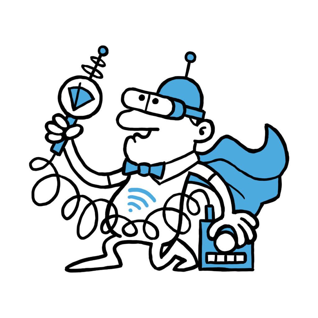 Wifi manden med måleudstyr der måler wifi