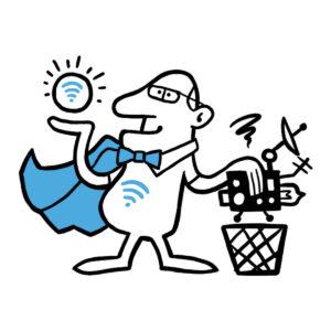 Wifi mand med gammelt udstyr over en skraldespand