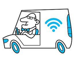 Wifi mand der kører bil