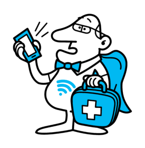 Wifi manden med mobiltelefon og taske
